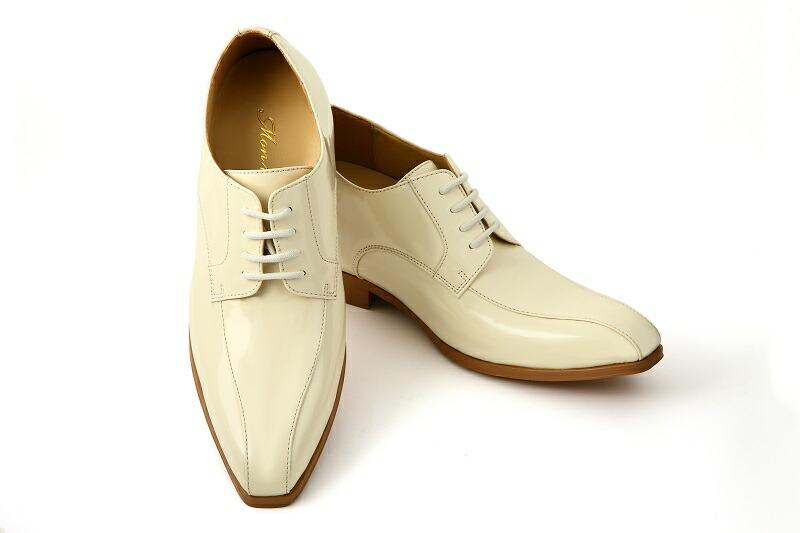 【クーポン】【販売】【タキシード】【ブライダルシューズ】【結婚式】【白い靴】【シークレットシューズ】】【フォーマルシューズ】【オフホワイト】(メンズシューズ)