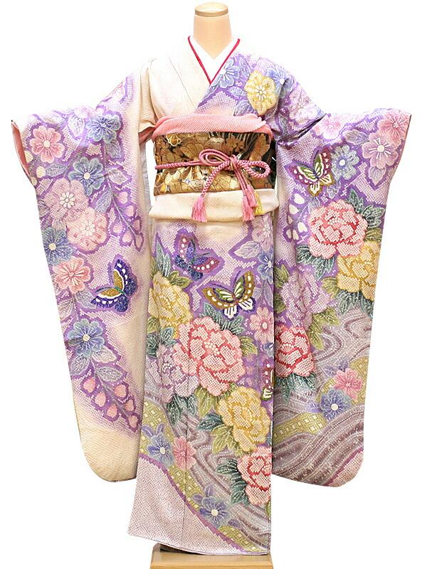 【クーポン】【レンタル】振袖 レンタル 成人式 着物 セット 絞りの白地ピンクパープル43