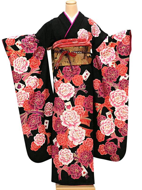 【クーポン】【レンタル】振袖 レンタル 成人式 着物 セット 黒地ラメにバラにリボン54
