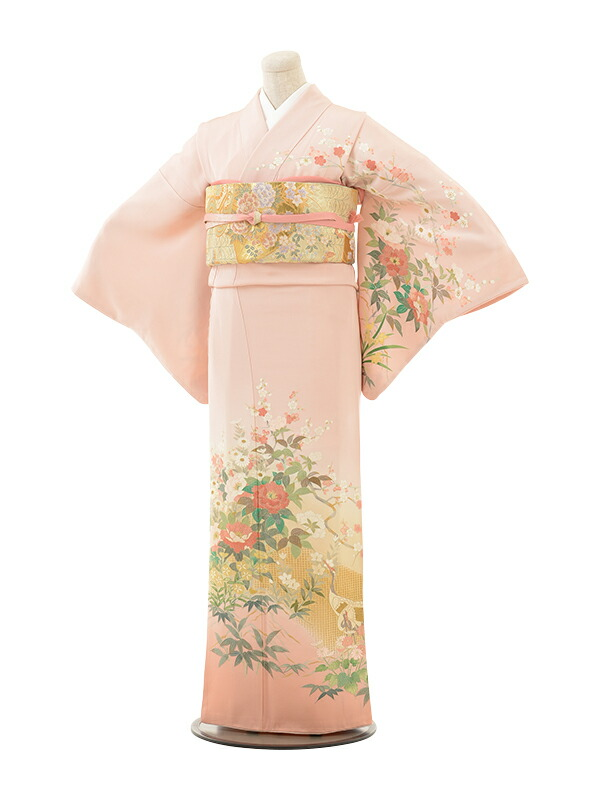 【クーポン】【レンタル】訪問着 結婚式 ブライダル およばれ レンタル 送料無料 着物(美しい着物うすピンクすわとう四季の花)さくらピンク