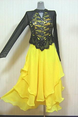 ネットレースラメスパンコール切替ドレス 黒×黄 フリー