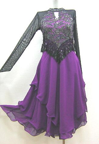 【アウトレット】ネットレースラメスパンコール切替ドレス 黒×紫 フリー