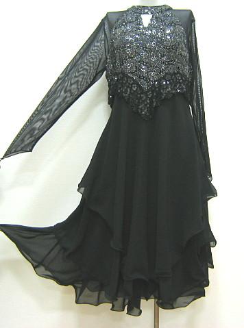 【アウトレット】ネットレースラメスパンコール切替ドレス 黒×黒 フリー