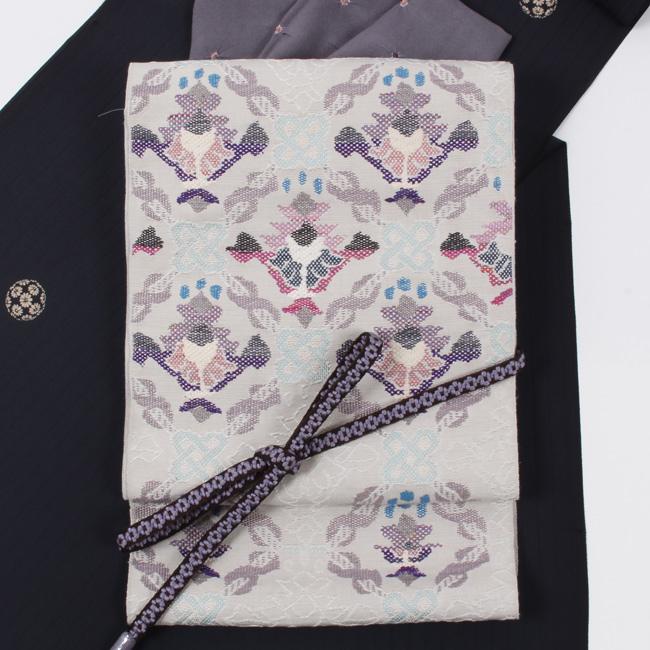 帯屋捨松 特選西陣織 八寸帯 名古屋帯 アラビアの花/薄グレー 六通柄 日本製