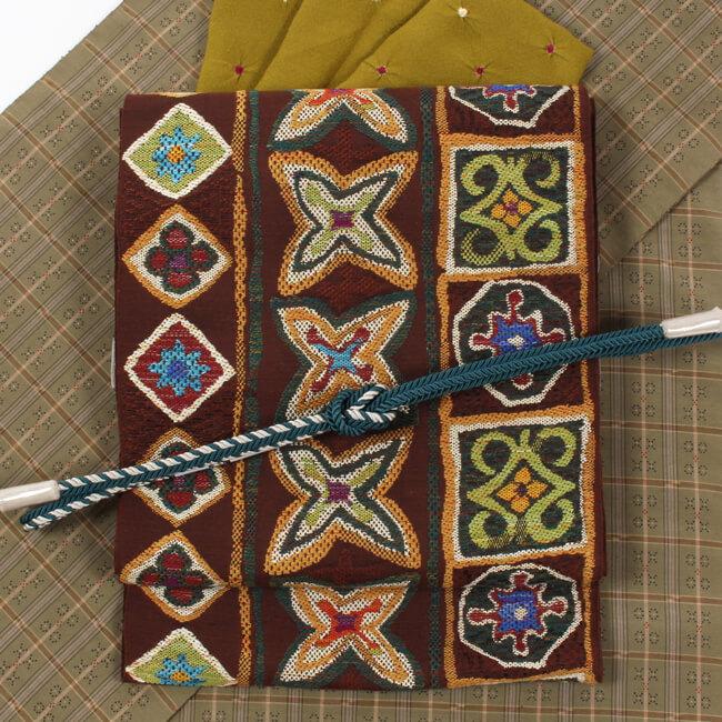 帯屋捨松 特選西陣織 八寸帯 名古屋帯 コプト幾何並び文/茶色地 六通柄 日本製 ママ割