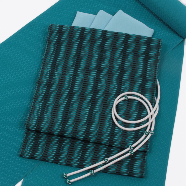 【杉村織物】九寸名古屋帯 くし織 青×黒 軽量 『麟RIN』 単衣にもおすすめ
