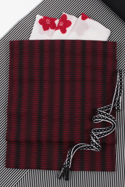 【杉村織物】九寸名古屋帯 くし織 赤×黒 軽量 『麟RIN』