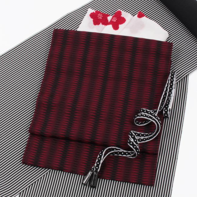 【杉村織物】九寸名古屋帯 くし織 赤×黒 軽量 『麟RIN』 単衣にもおすすめ ママ割