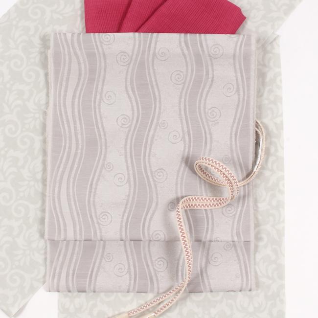 【夏帯】 となみ織物 西陣織九寸名古屋帯 紗織 よろけ縞渦巻き文/グレージュ 全通柄 ママ割