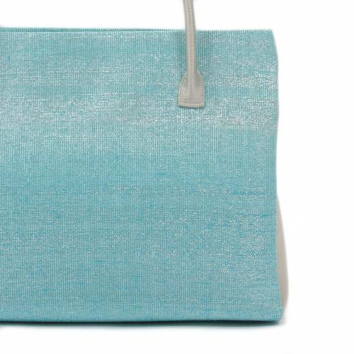 【桝屋高尾】 和装バッグ トート型 ねん金綴錦 水色/銀フォーマルバッグ 帯地正絹バッグ
