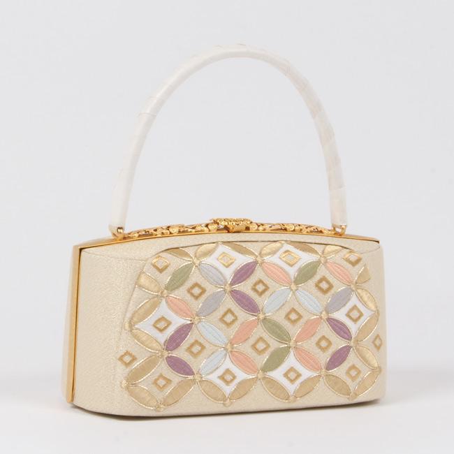 和装バッグ フォーマル カラフル七宝刺繍 金地 留袖用/礼装用バッグ 着物バッグ 「日本製」衿秀謹製 和装 シルクガード