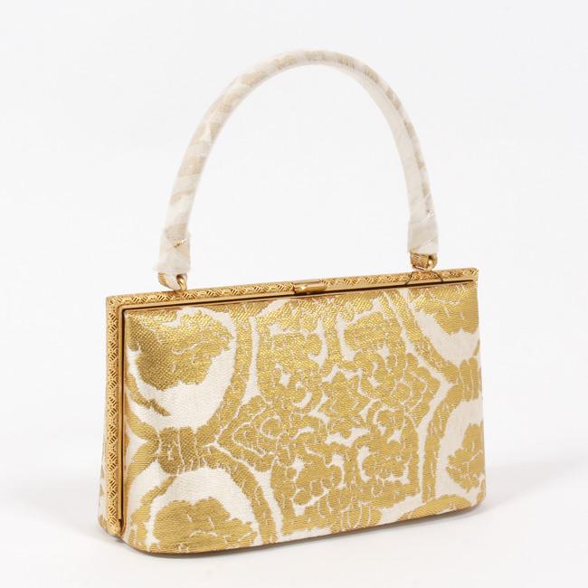 【金唐革】高級和装バッグ フォーマル 正絹金箔帯地 更紗模様/白×金 留袖/振り袖用 礼装用バッグ 着物バッグ 「日本製」和装
