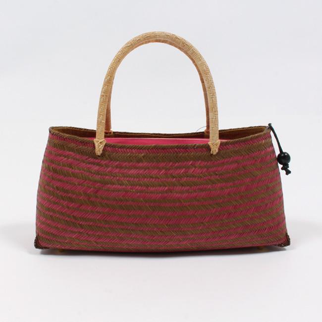 【かごバッグ】 浴衣 高級竹籠バッグ 二色/濃ピンク×茶/バイカラー「横段縞・檜垣(網代)」 小さ目トート ファスナー付き 夏の和装バッグ