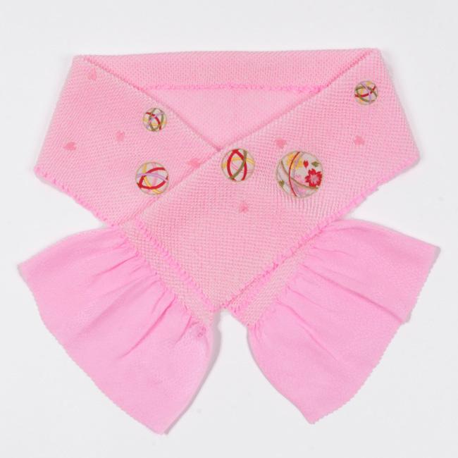 【七五三】 7歳 3歳 女の子 正絹 特選総絞り帯揚げ ピンク地/手毬刺繍入り 鹿の子の四つ巻絞り ママ割