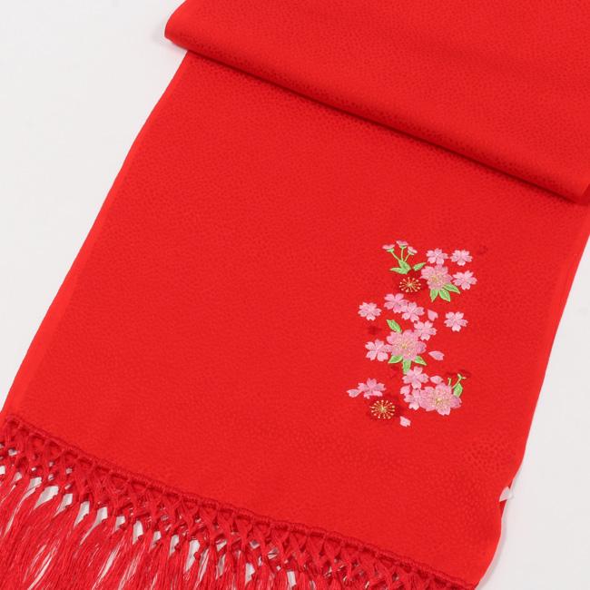 【七五三】 7歳 女の子 正絹 志古貴(しごき) 赤色/桜 刺繍入り 子供用 七歳 七才 女児