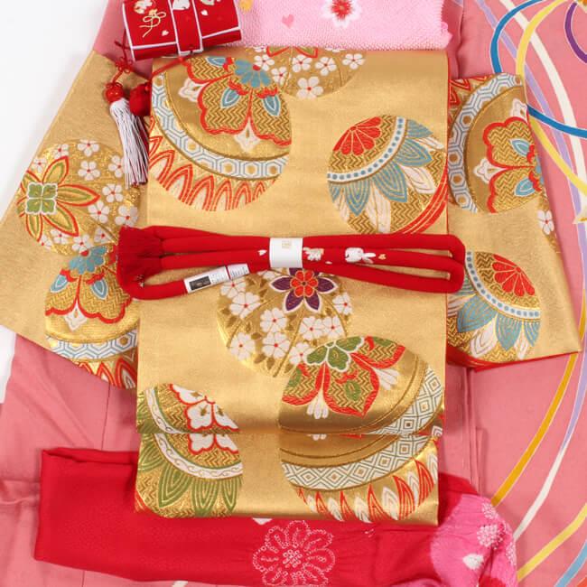 七五三 祝帯 7歳 女の子 正絹 祝い帯 金地/手毬文 単品 結ぶタイプの豪華な祝袋帯 子供用 七歳 七才 女児 【日本製】
