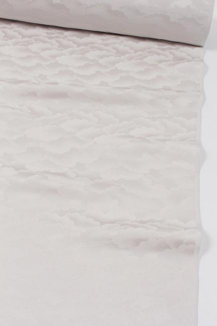 【藤井寛】 色無地 壽光織(寿光織) 正絹紋意匠地 白鼠色/雲文 紋付 八掛け付(4丈)