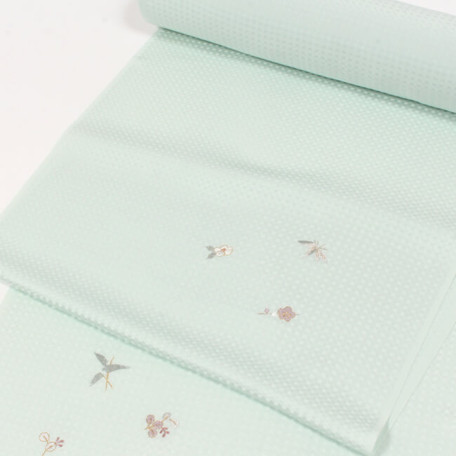 【刺繍】小紋着尺 水色 市松地紋入 正絹 丹後ちりめん 【日本製】 ママ割