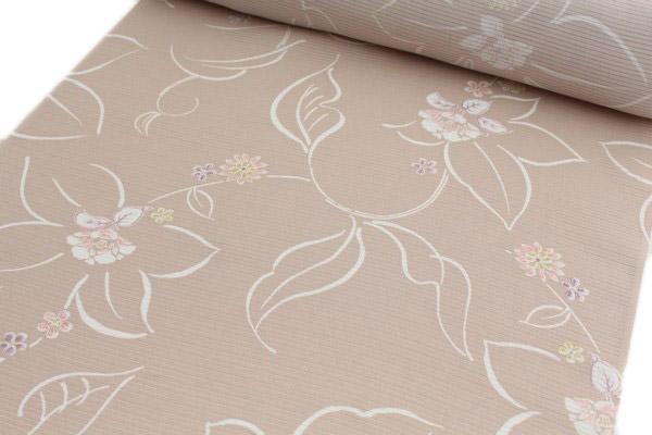 【夏物】絽小紋 正絹絽小紋着尺 洗柿色 花模様 反物