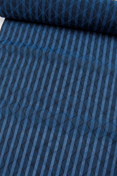 【薄コート】正絹御召シースルーコート地 西陣お召 夏用お召着尺 縞透かしコート地着尺 縞・襷文/青×黒 スリーシーズンコート レースコート 日本製 ママ割
