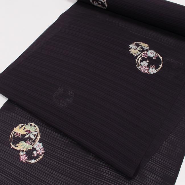 【夏用】特選絽小紋 万葉染織 花の丸文/濃紫色 反物 飛び柄 五泉駒絽 ママ割