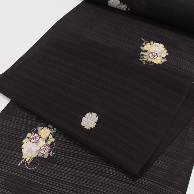 【夏用】特選絽小紋 万葉染織 雪輪花文/濃茶色 反物 飛び柄 五泉駒絽