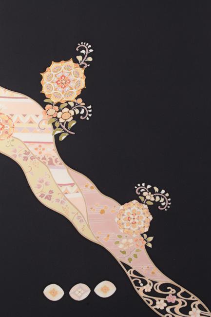 京友禅付下げ着尺 皇室衣装デザイナー「伊藤和枝」デザイン 丹後ちりめん 道長取り華文 濃紺色