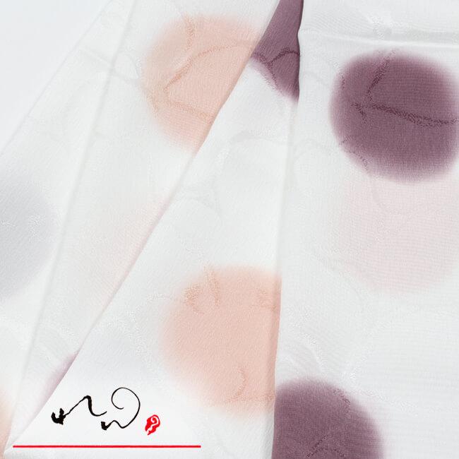 【れん】特選正絹帯揚げ 水玉ぼかし文 白地×サーモン×赤紫 セミフォーマル 礼装用 丹後ちりめん 「井登美」 ママ割