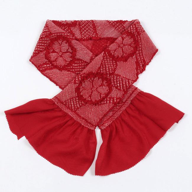 総絞り帯揚げ 振袖用 正絹 赤無地 桜文 成人式 卒業式