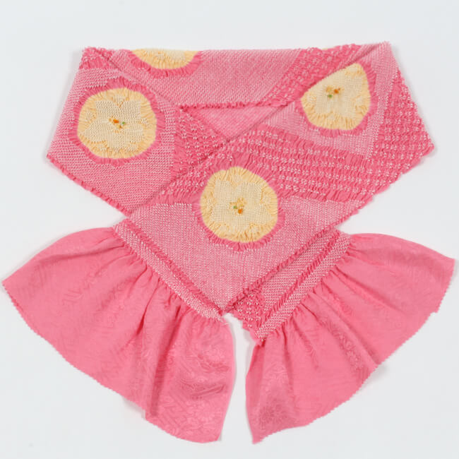 総絞り帯揚げ 振袖用 正絹 輪出し二色 ピンク×薄黄色 帽子絞り入 成人式 卒業式 ママ割