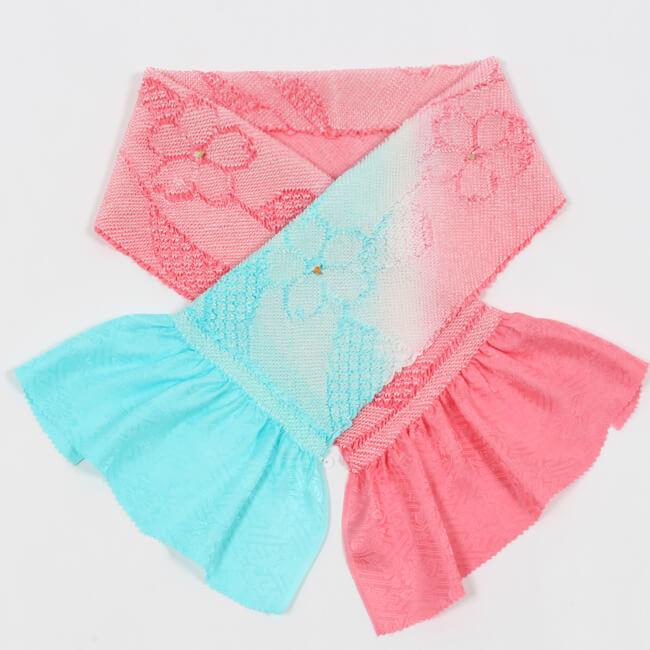 総絞り帯揚げ 振袖用 正絹 二色ぼかし ピンク×水色 帽子絞り入 成人式 卒業式 ママ割