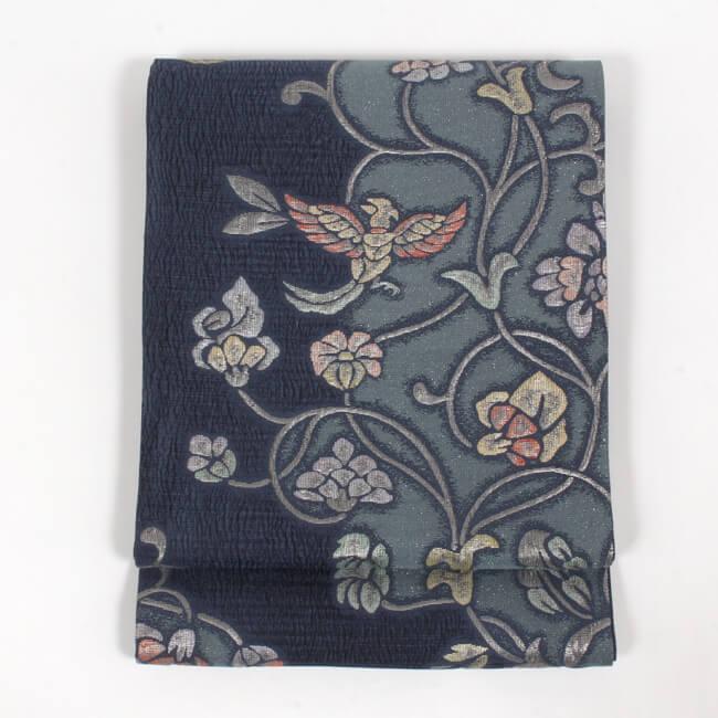 特選西陣織正絹袋帯 膨れ織り 錆青地 鳳凰更紗唐草模様 超軽量 ママ割