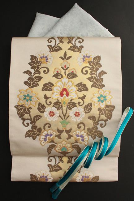 【引箔】西陣織特選袋帯 「イタリー更紗華文」 格調高い雰囲気のハイクラスなフォーマル袋帯 小林定織物