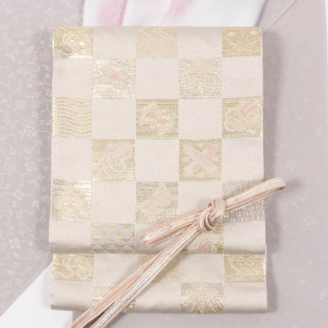 西陣織特選袋帯 「市松宝尽くし文」 白×金 格調高い雰囲気のハイクラスなフォーマル袋帯 小林定織物
