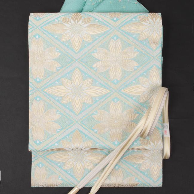 【老舗 帯清】 特選正絹西陣織 袋帯 水色×金「松葉菱華文」フォーマル袋帯 礼装用 ママ割
