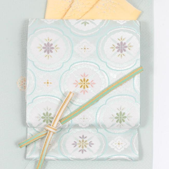 【ふくい】 西陣織袋帯 「木瓜文」薄青磁色 正絹 フォーマル