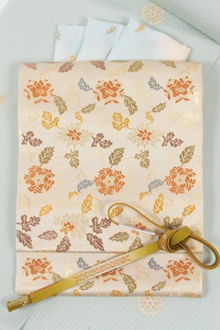 【織匠小平】 西陣織正絹袋帯 「唐草更紗文」薄クリーム地 フォーマル