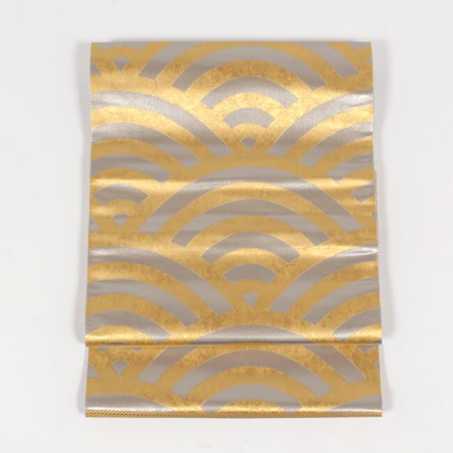 【となみ織物】 特選西陣織袋帯 本金プラチナ箔 青海波文 金銀 引箔 礼装用 フォーマル袋帯 ママ割