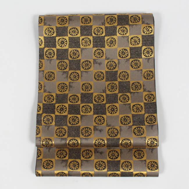 【となみ織物】 特選西陣織袋帯 引箔 菊市松文 金 礼装用 フォーマル袋帯 ママ割