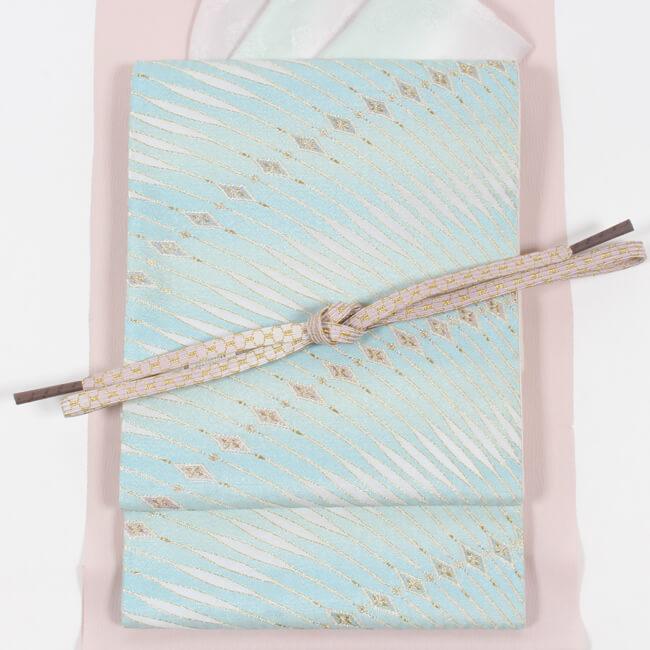 【西陣まいづる】西陣織 正絹袋帯 「貴華美流文(水色/金)」 菱幾何学模様 礼装用 送料無料
