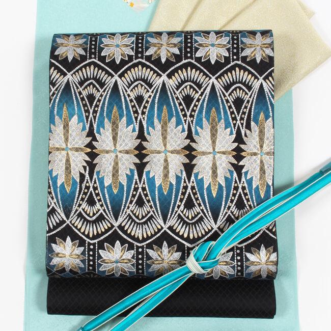 蘇州刺繍 袋帯 特選刺繍創作袋帯 ループ華文/焦げ茶色地 手刺繍 お洒落帯 超軽量帯 ママ割