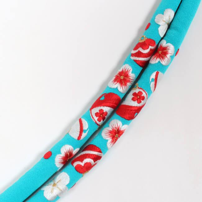 帯締め 丸ぐけ 振袖用 正絹 水色地(赤×白) 「梅鈴」 刺繍入り 礼装用 【日本製】 ママ割