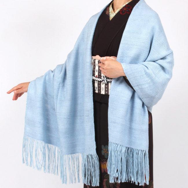 【奥順】真綿ショール「真綿まとうショール無地」 水色スカイブルー/水たまりの空 和装ショール 着物ショール 「日本製」 大判 ママ割