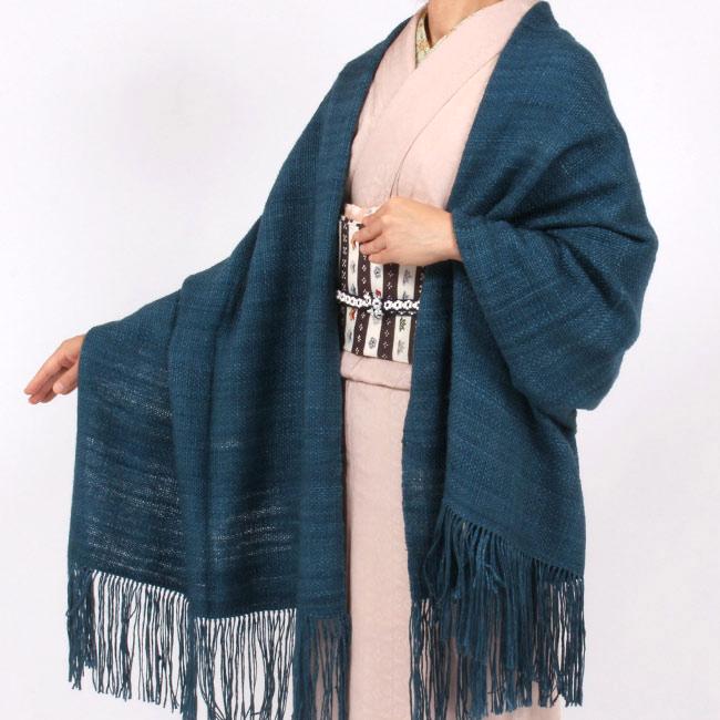 【奥順】真綿ショール「真綿まとうショール無地」 ブルー/星斗 和装ショール 着物ショール 「日本製」 大判