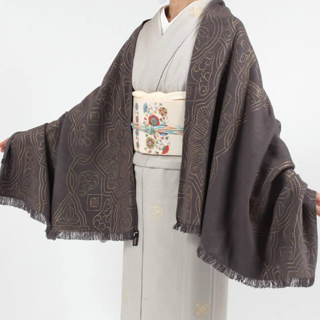 和装ショール 正絹京友禅ショール ケルト文様/チャコールグレー 着物ショール 塵除け「日本製」 大判