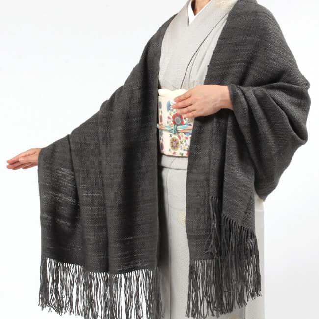 【奥順】真綿ショール「真綿まとうショール無地」 グレー/灰色/祈 和装ショール 着物ショール 「日本製」 大判