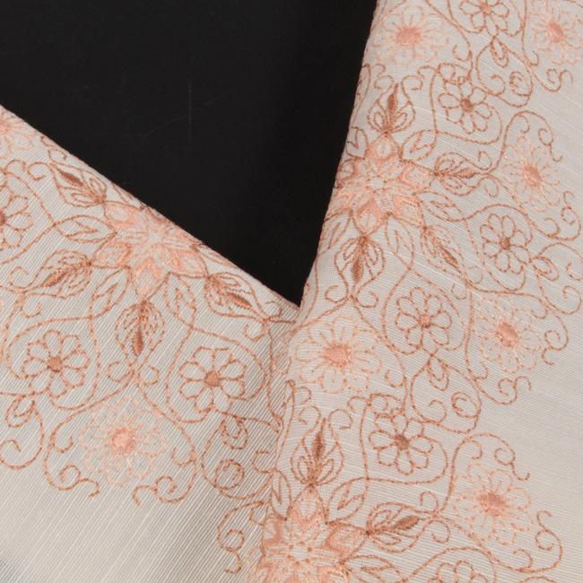 半襟 刺繍半襟 正絹塩瀬地 薄クリーム地/オレンジ茶系刺繍 洋華文 お洒落用 半衿 ママ割