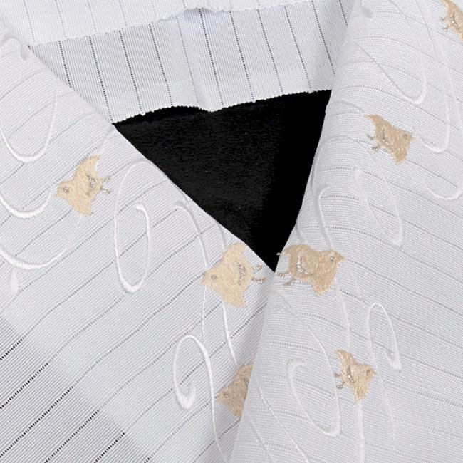 夏用 絽 刺繍半襟 特選正絹刺繍半襟 白 流水千鳥文(白薄茶色刺繍) 豪華な刺繍 衿秀 日本製
