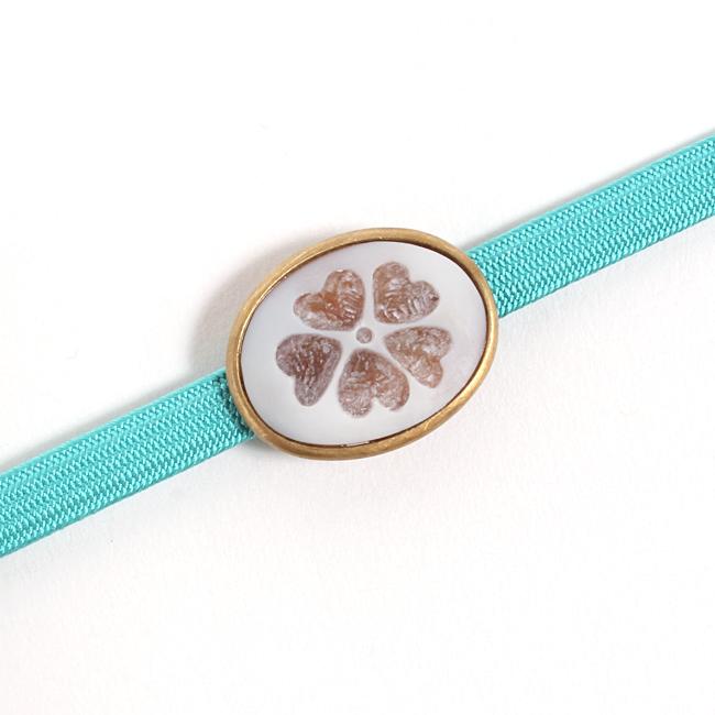 帯留 「カメオ」イタリア/ナポリ製 五つ葉クローバー 白 和小物さくら ママ割