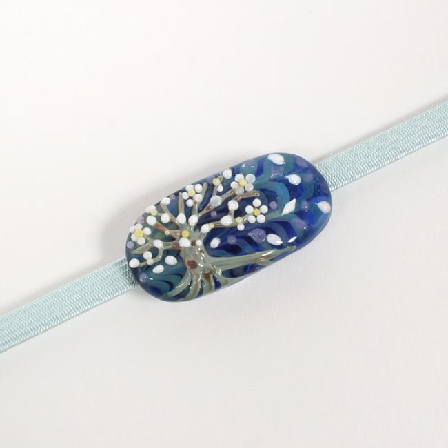 帯留 イタリアン硝子「モレッティ」夜桜 紺色 日本製 浴衣や着物に 和小物さくら